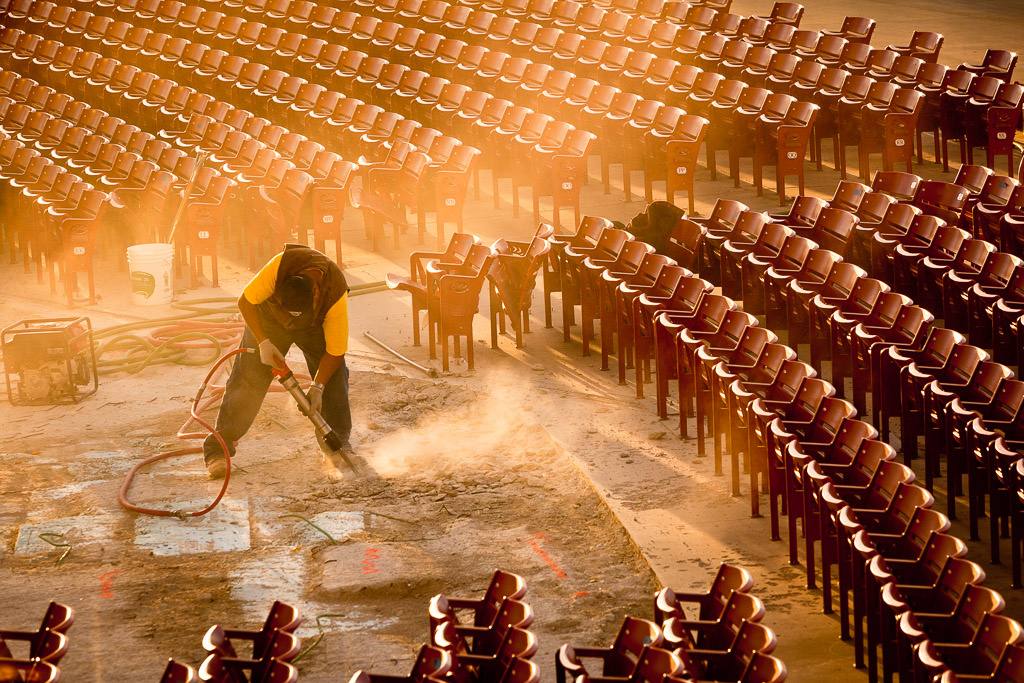 A construction worker, uses a jack hammer to rebuild a concert theatre at Millennium Park, October 27, 2010, in Chicago, Illinois.  Credit: Jeff Woo