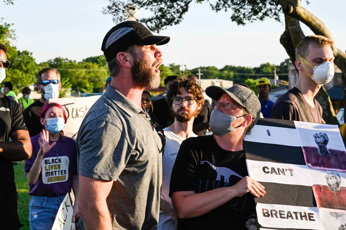 A counter protester speaks out, while speeches are given at the Historic Downtown Square, Thursday, June 18, 2020, in Pilot Point, Texas.  This was the city's third protest in response to the death of George Floyd.