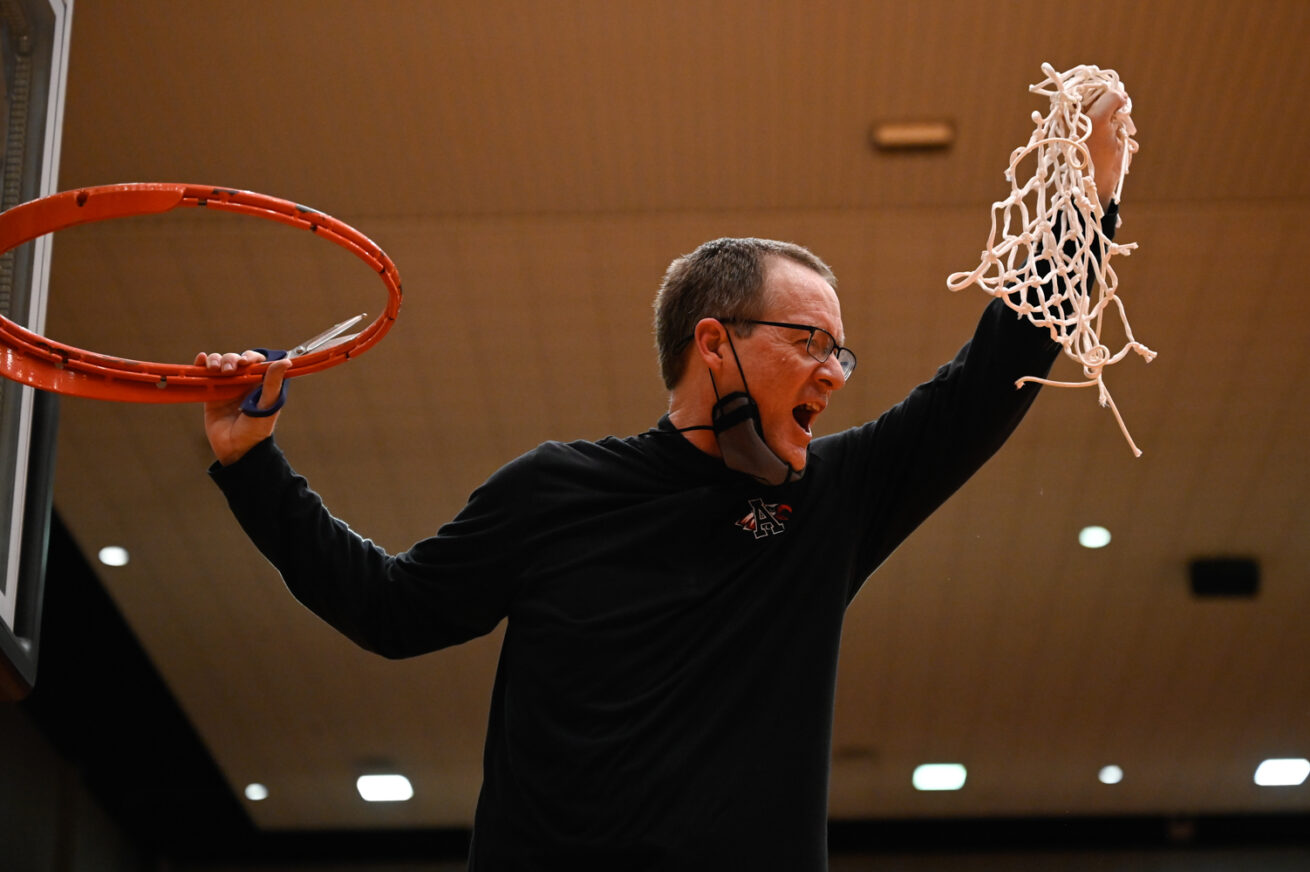 Argyle head coach Russell Perkins celebrates after his team defeats Faith Family at Wilkerson-Greines Activity Center, Tuesday, March 9, 2021, in Fort Worth, Texas.