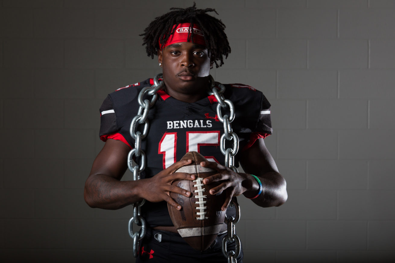 Braswell football player, Ki'Andre Jackson, poses for a portrait at Braswell High School