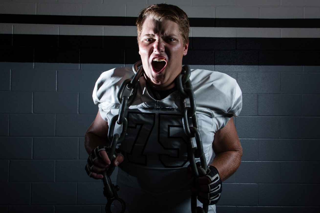 Guyer football player, John Lanz, poses for a portrait at Guyer High School