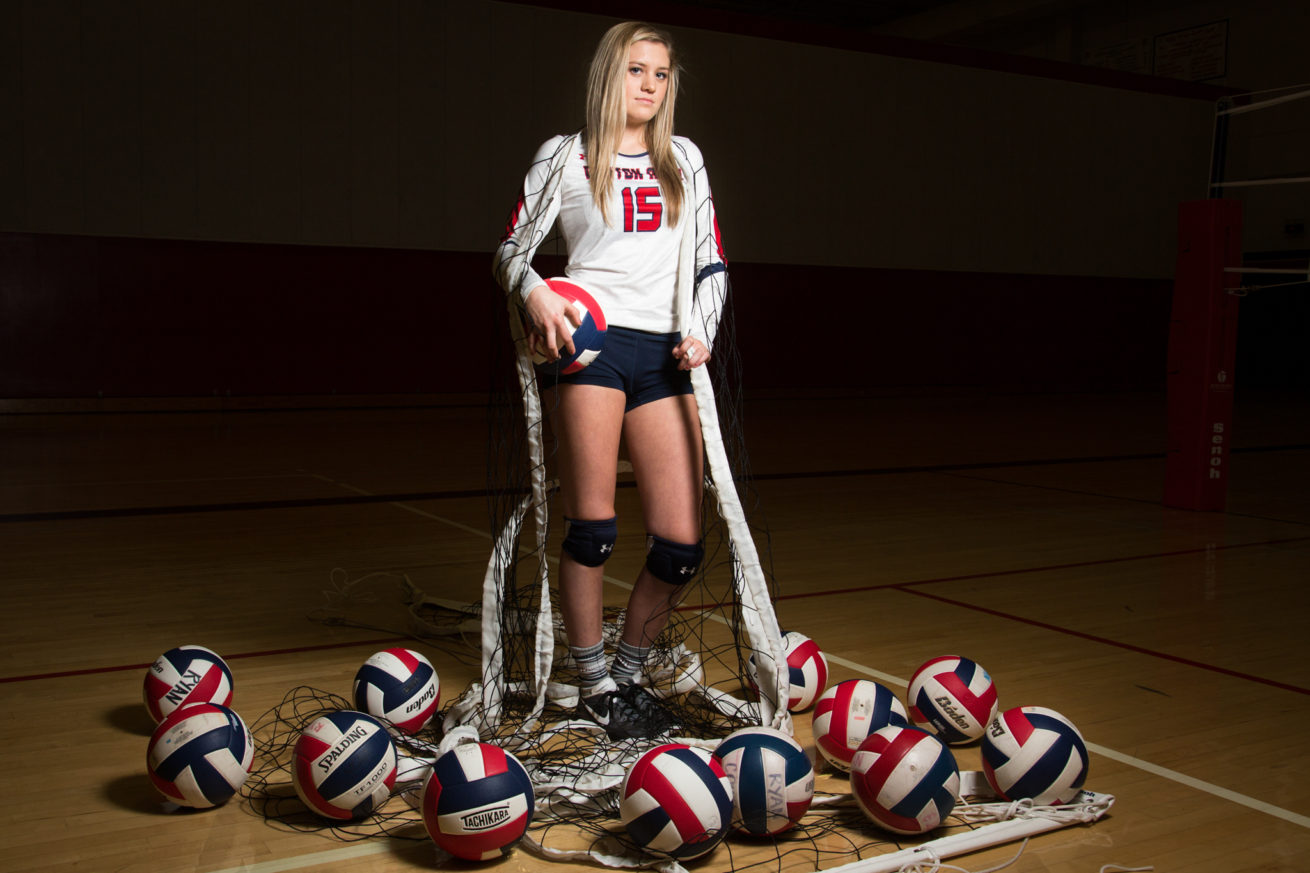 Ryan senior volleyball setter, Brynn Warnack poses for a portrait at Billy Ryan High School.  Warnack holds the school record for assists