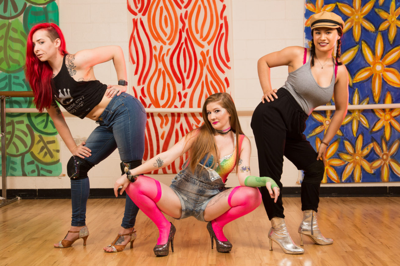 Draconis, instructor, Scarlett Frenzy, director and Dominique Luzon, instructor, pose for a portrait at Green Space Arts Collective.  9Tease Studios is a dance academy that has rebranded itself from the Denton Academy of Drag and Burlesque.