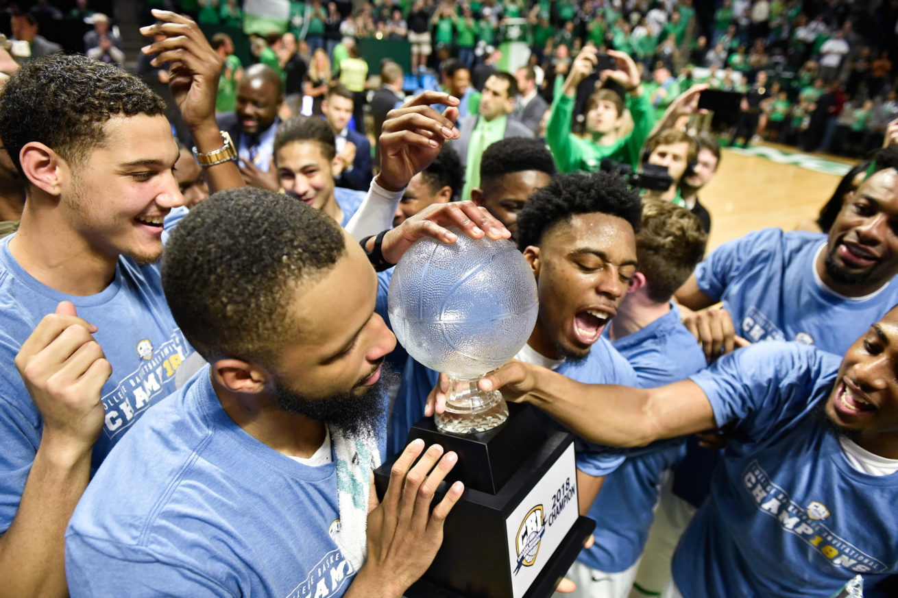 North Texas celebrates and wins the College Basketball Invitational by defeating opponent, San Francisco, at the Super Pit
