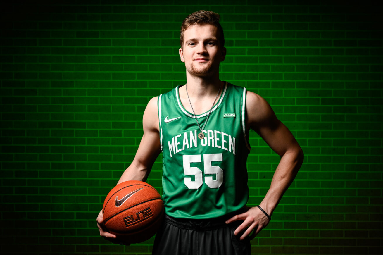 North Texas' DJ Draper plays guard for the basketball team, Friday, March 6, 2020, in Denton, Texas.