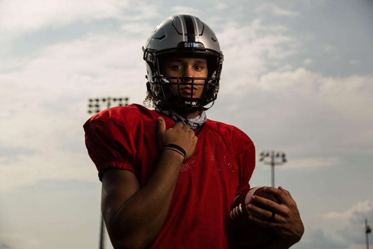 Guyer quarterback Eli Stowers has fully recovered and been cleared from a knee injury that knocked him out of last year's state title game, Thursday, Sept. 17, 2020, in Denton, Texas.