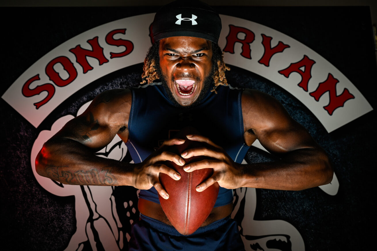 Ryan running back Ke'Ori Hicks poses for a photo at Ryan High School, Tuesday, Sept. 22, 2020, in Denton, Texas.