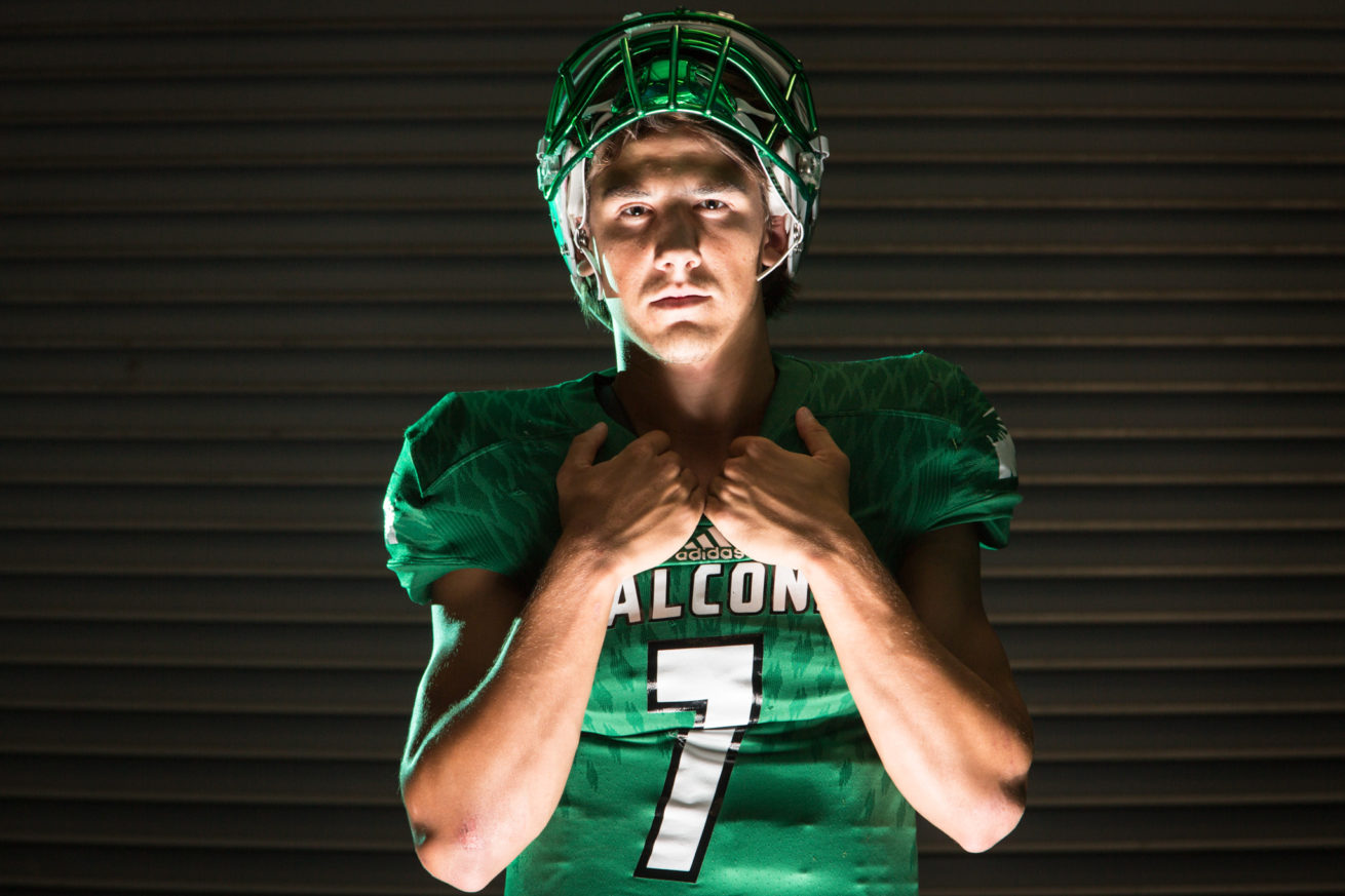 Lake Dallas senior quarterback Ryan Depperschmidt poses for a portrait at Lake Dallas High School.